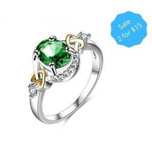 2/$15 Two Tone Simulated Emerald Ring Size 6 NEW